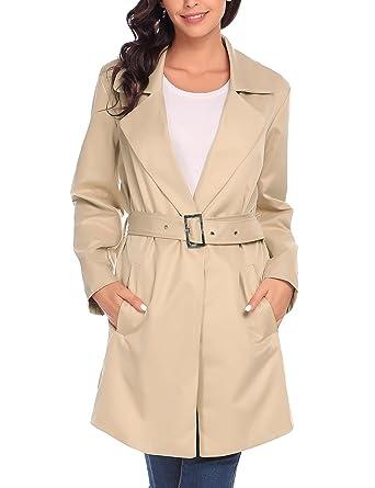 9fe13643b5c2 Zeela Femme Long Manteau Parka Veste avec ceinture Slim Coupe-vent Trench  Coat, Abricot