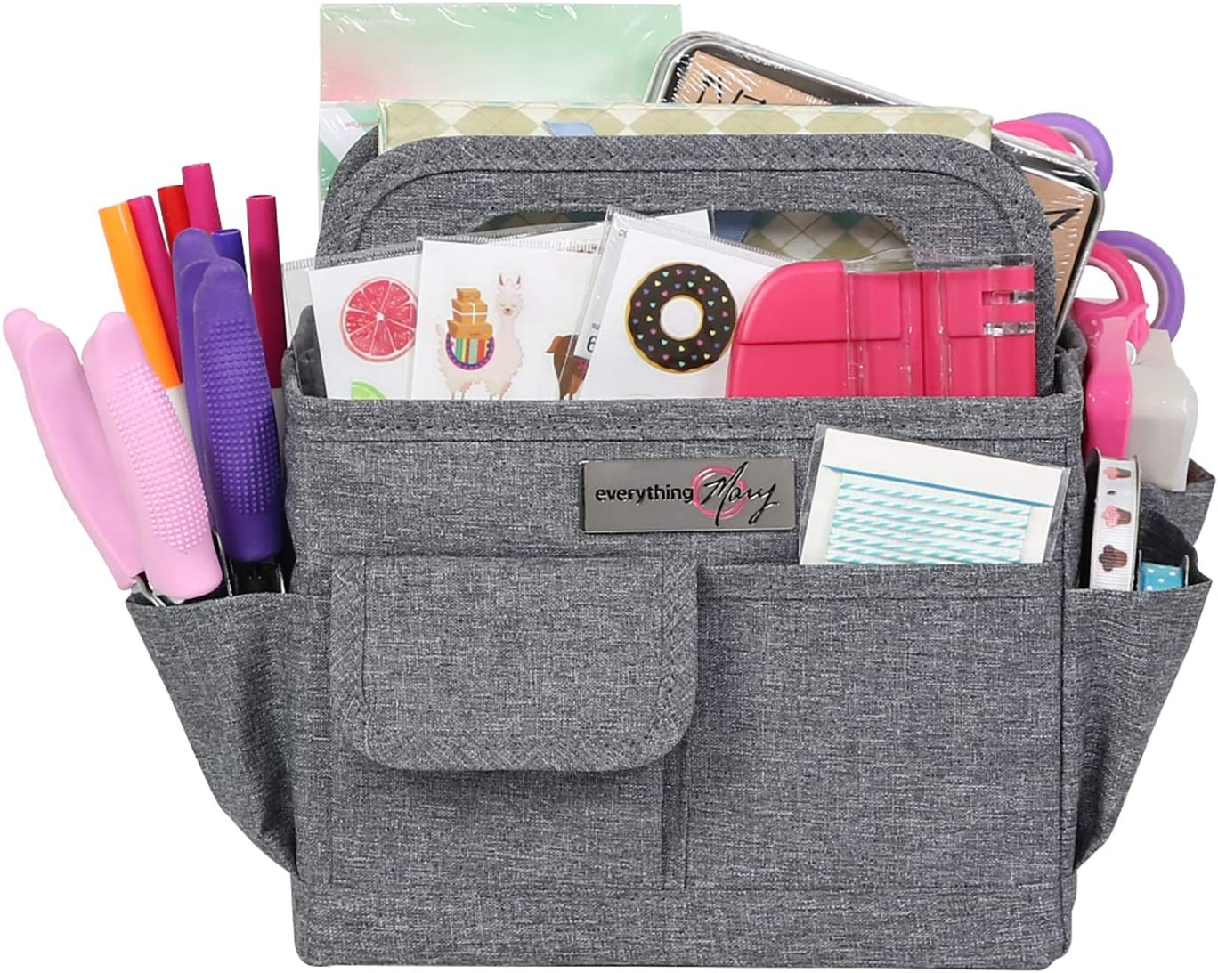 Everything Mary Collapsible Craft Caddy, Grey - Art Storage for Supplies & Crafts - Supply Organizers Tote for School Classroom, Office, and Home - Organization for Makeup & Nurses
