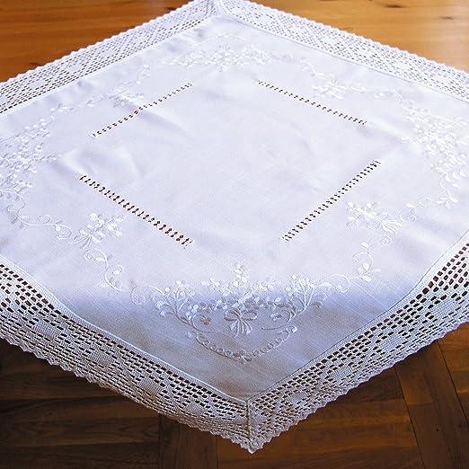 Tischläufer Mitteldecke weiß edle Stickerei /& Häkelspitze Landhausstil 40x90 cm