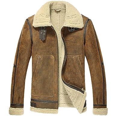 d8d32983 Cwmalls Men's B 3 Sheepskin Bomber Jacket CW807118 at Amazon Men's ...