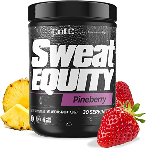 Sweat Equity Premium Pre Workout Supplement Pineberry 30 Servings Gluten Free Sugar Free