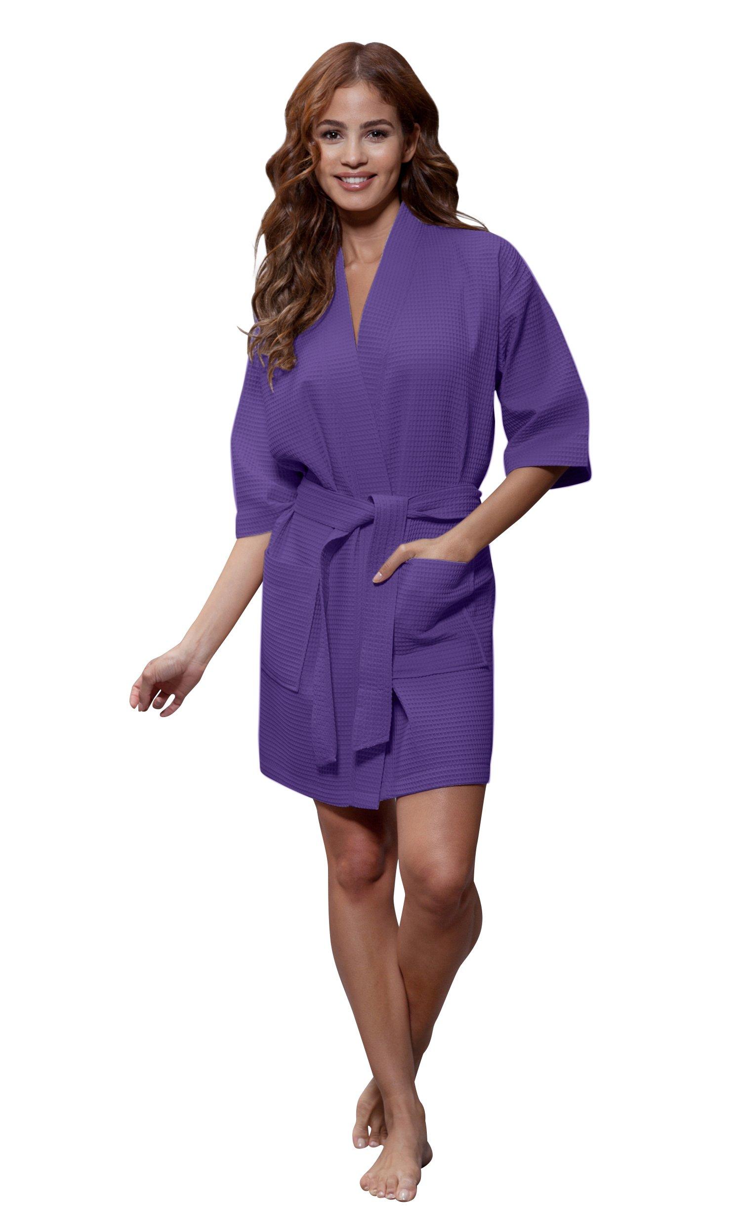Galleon - Turquaz Linen Lightweight Knee Length Waffle Kimono Bridesmaids  Spa Robe (XX-Large 45dad57c7
