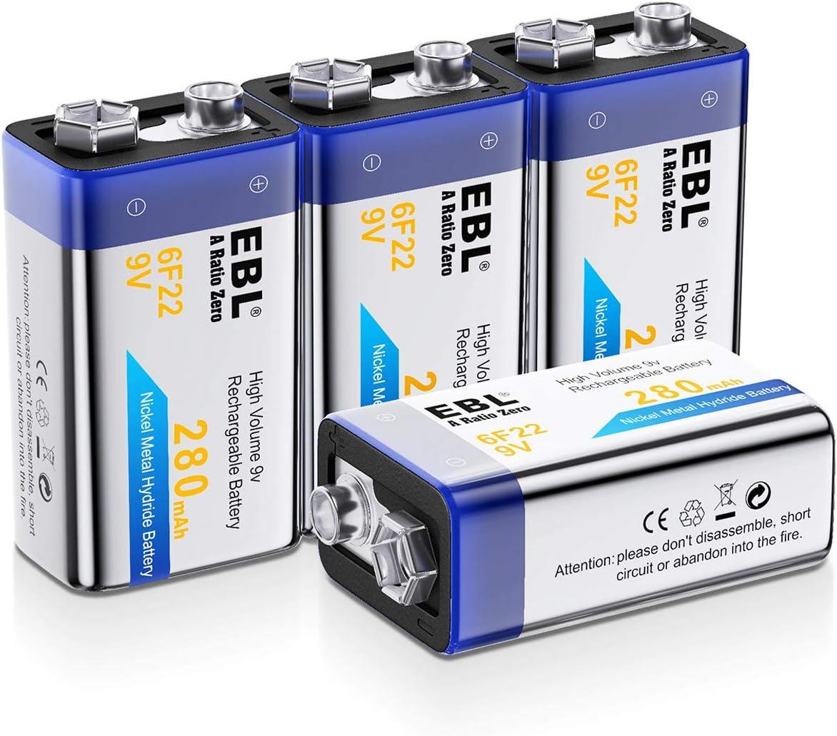 EBL 9V Rechargeable Batteries NiMH Everyday 280mAh 9V Battery for Smoke Alarm Detector, 4-Packs: Home Audio & Theater