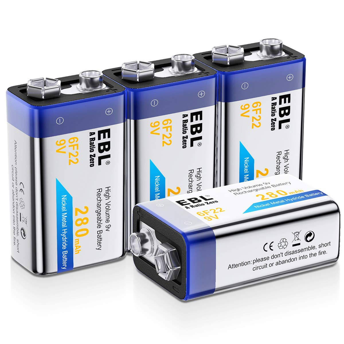 EBL 9V Rechargeable Batteries NiMH Everyday 280mAh 9V Battery for Smoke Alarm Detector, 4-Packs