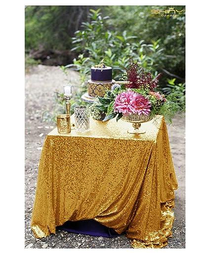 804aebf23203 Amazon.com  48x48-Inch Square-Sequin Tablecloth-Gold