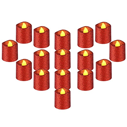 Amazon.com: YEHTEH - Velas LED sin llama, color rojo, con ...