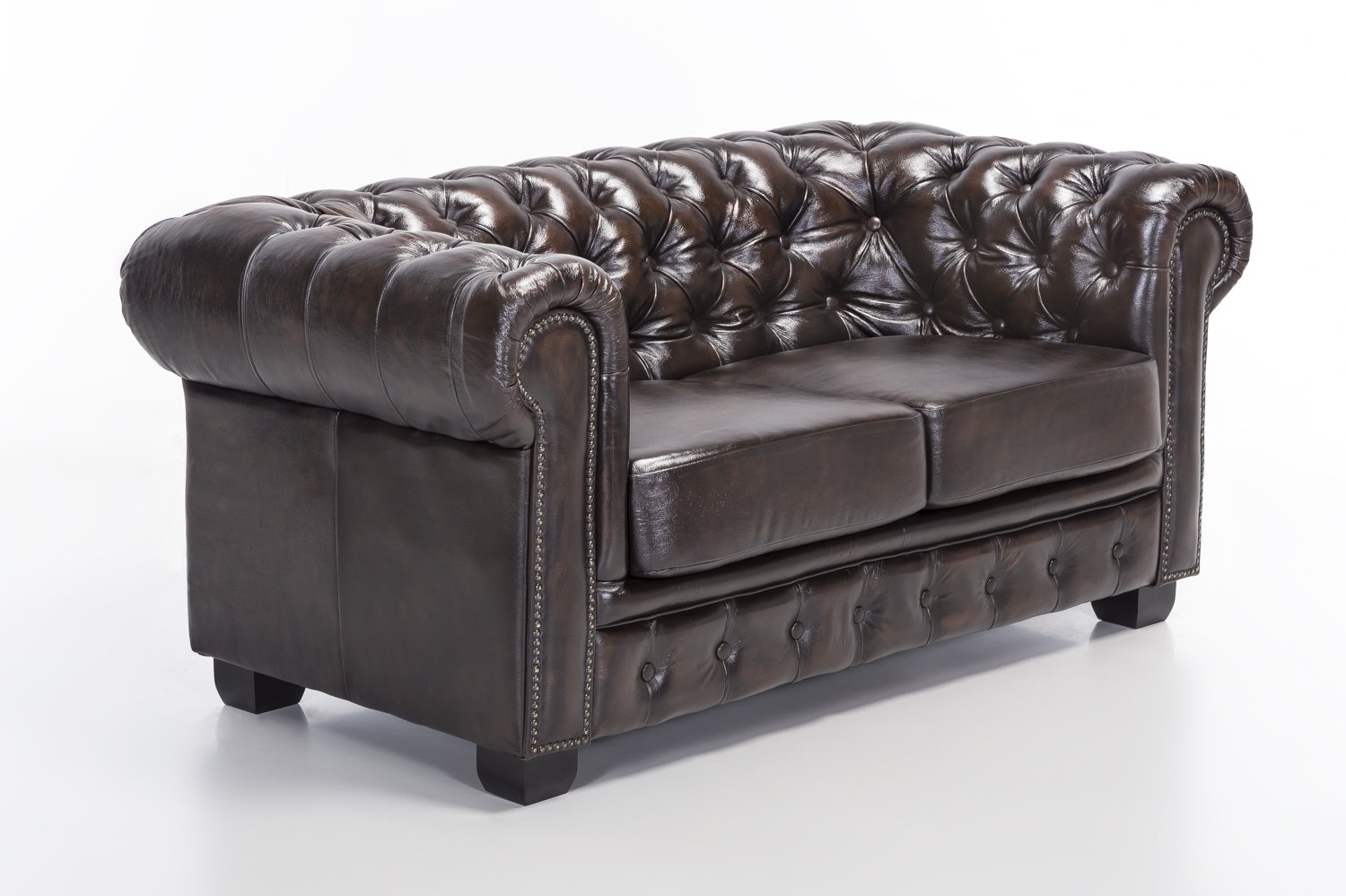 Woodkings Chesterfield Sofa 2er braun vintage Echtleder
