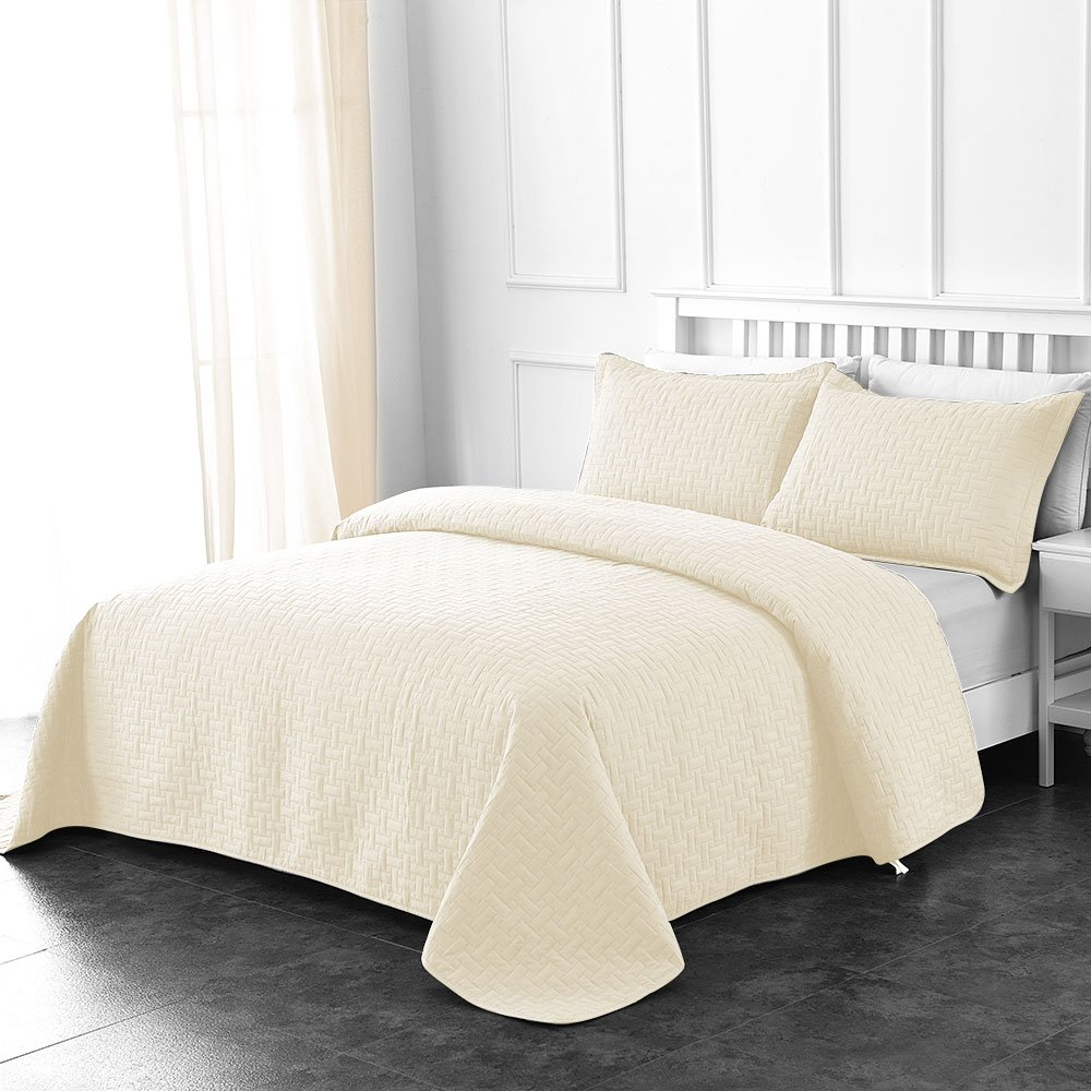 Comfy Basics Prime Bedding Manchester 3-Piece Oversized Quilted Bedspread Coverlet Set (Ivory, King)