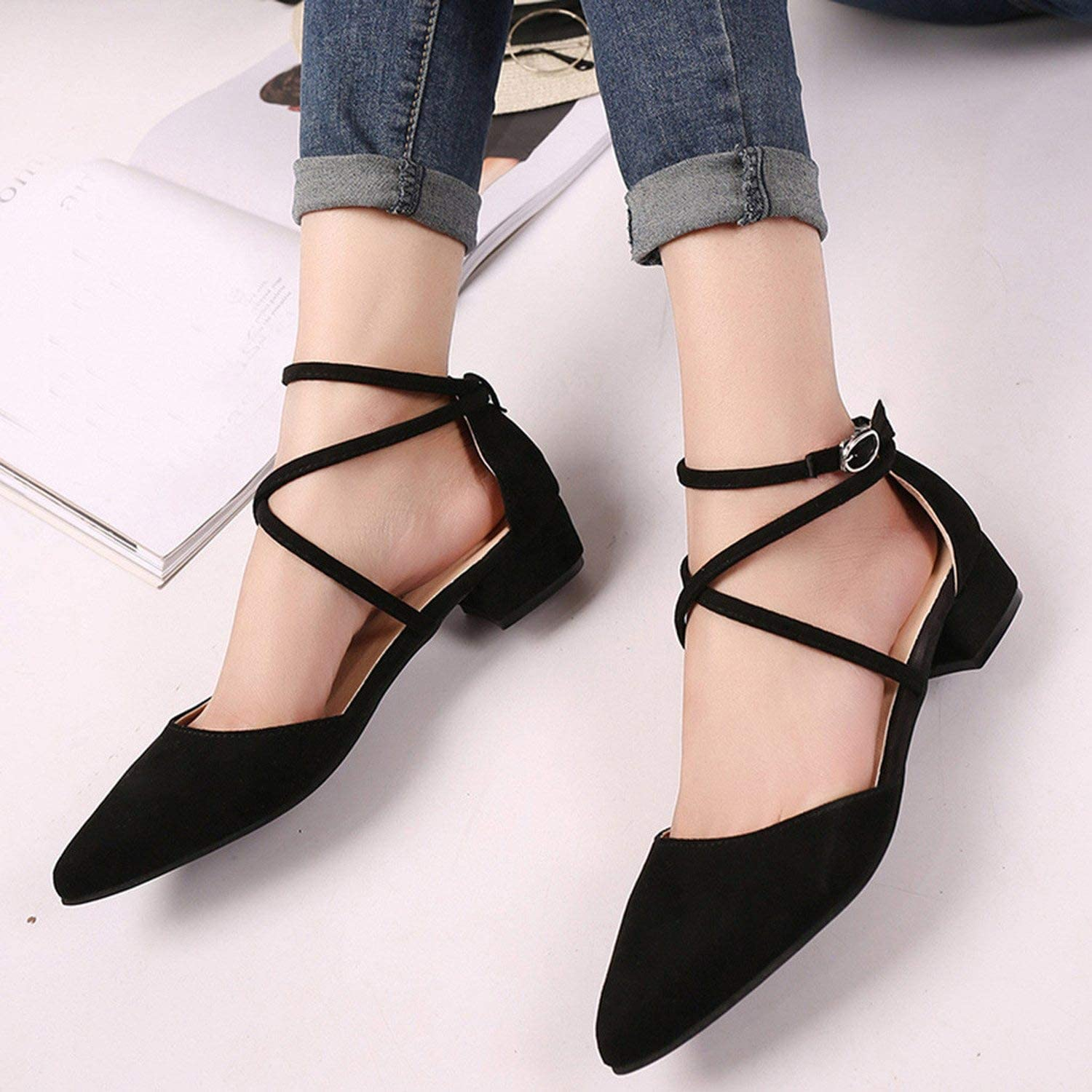 2019 Womens Fashion Casual Point Toe Buckle Strap Square Heel Sandals Med Heel Tops Shoes,Black,35