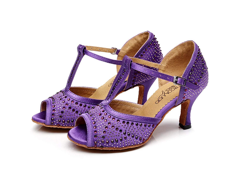 Damen Tanzschuhe Latin T-Strap Tanzschuhe Salsa Tango Chacha Samba Samba Samba Modern Jazz Dance Sandalen High Heels Lila-Absatz7.5cm-UK5.5   EU38   Our39 e8064c