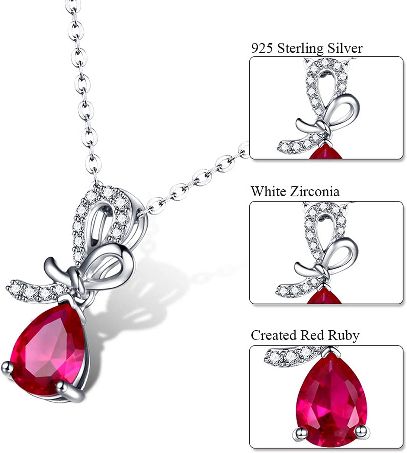 MMC Womens Genuine Solid Red Ruby Jewelry Silver Pendants Necklaces