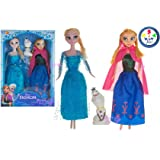 Wish key Frozen Princess Sisters Anna and Elsa Dolls with Snow Olaf