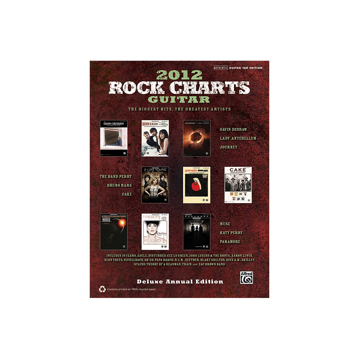 Amazon Alfred Rock Charts Guitar 2012 Deluxe Annual Edition