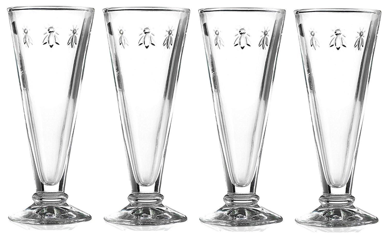 La Rochere Set of 4 Bee Design Glass Champagne Flutes