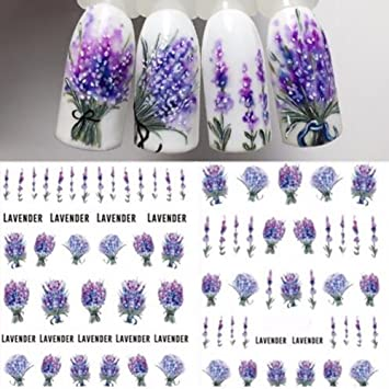Amazon Com 1 Sheet Lavender Flower Water Decals Purple Blooming Flower Nail Transfer Decals Nail Art Water Seal Water Slide Beauty