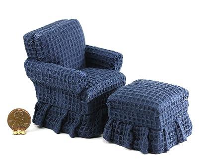 Amazoncom Dollhouse Miniature Traditional Blue Club Chair With