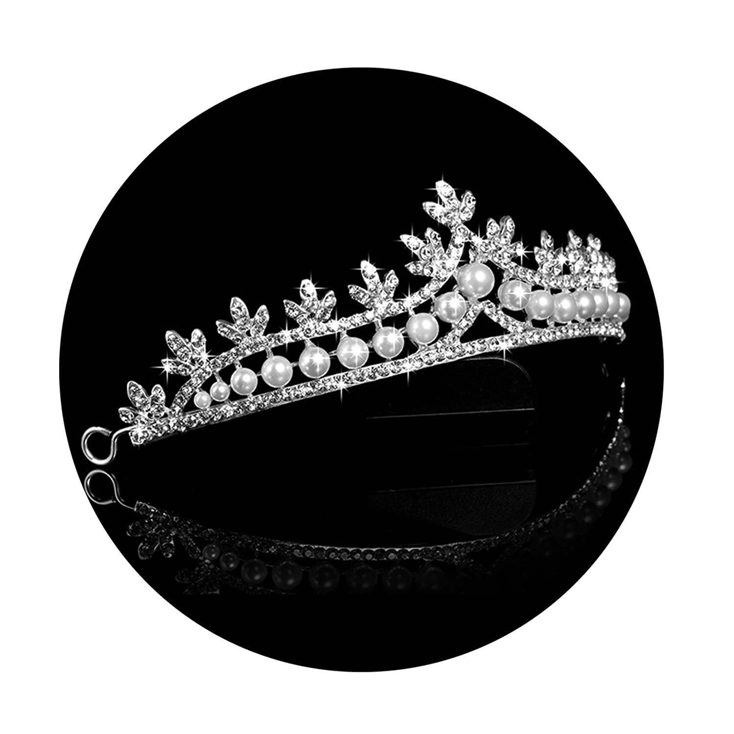 AmDxD Silver Plated Wedding Headbands for Women,Rhinestone Crown Simulated Pearl Hair Accessories TSWDWTQQ011