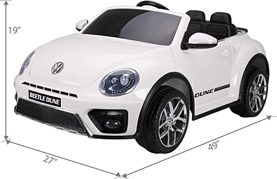 Amazon Com Tobbi 12v Licensed Volkswagen Beetle Dune Electric Cars For Kids With Remote Control Mp3 Player Fm Radio Bluetooth White Toys Games