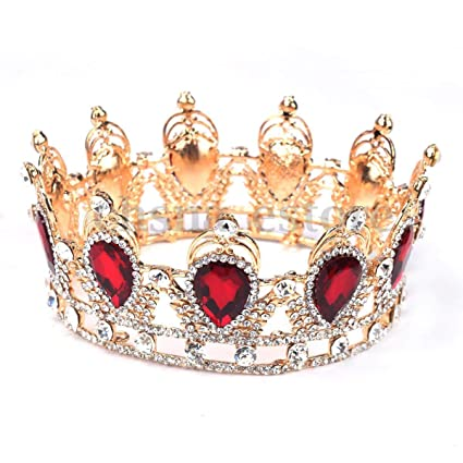 6cm High Light Pink Sparkling Crystal Gold King Crown Wedding Prom Party Pageant