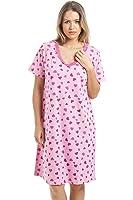 Camille - Damen Nachthemd mit kurzen Ärmeln - knielang - Rosa mit Herz-Muster