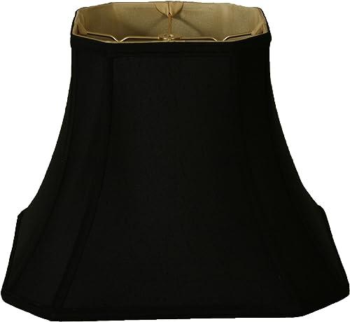 Royal Designs BSO-705-12BLK 7.5 x 12 x 10.25 Square Cut Corner Bell Lamp Shade, Black