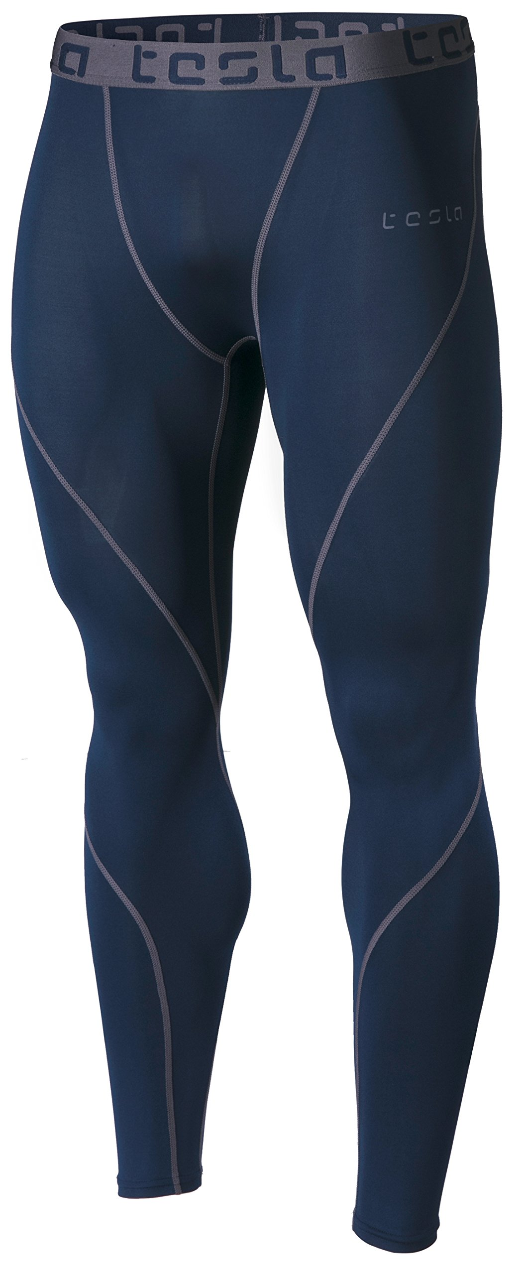 TSLA Men's Compression Pants Running Baselayer Cool Dry Sports Tights, Athletic(mup19) - Navy, X-Small by TSLA
