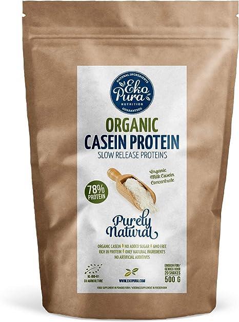 Proteína de Caseína Orgánica - Natural - Certificada Orgánica, de Vacas de Hierba, Sin Aditivos - 500g