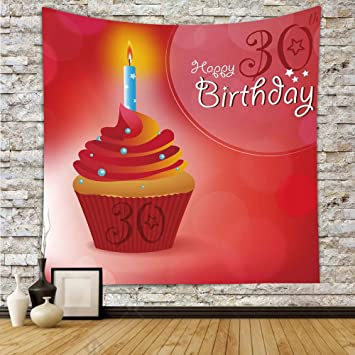 IPrint Polyester Tapestry Wall Hanging30th Birthday DecorationsCute Cupcake With Candlestick Stars Bokeh