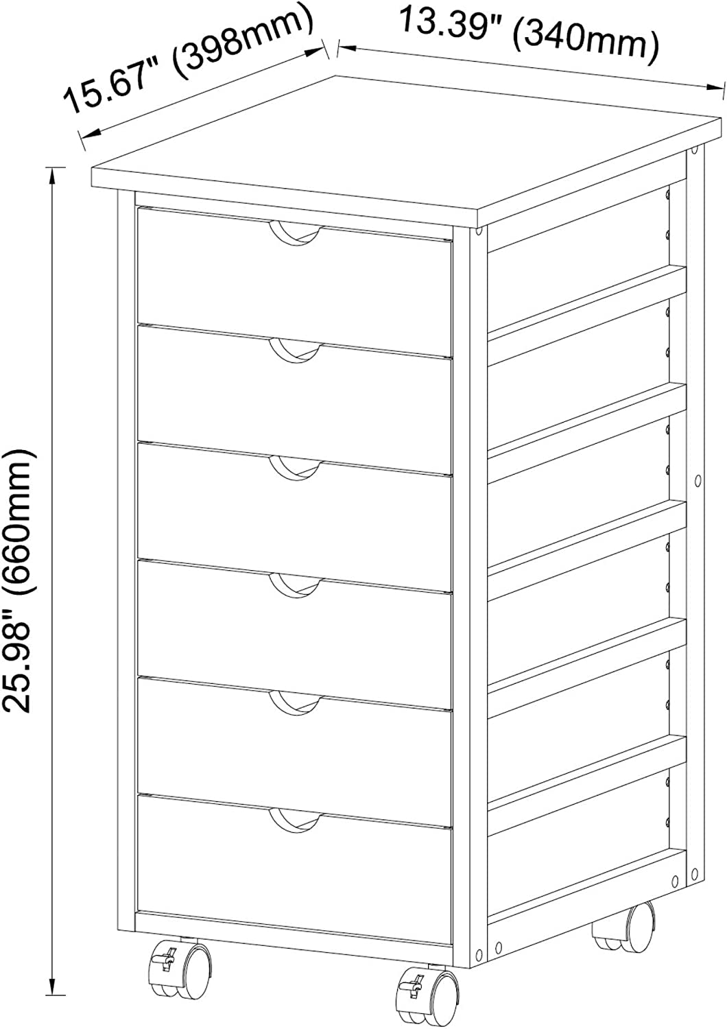 MISC Solid Bamboo Frame 6 Drawer Rolling Cart White MDF Drawers