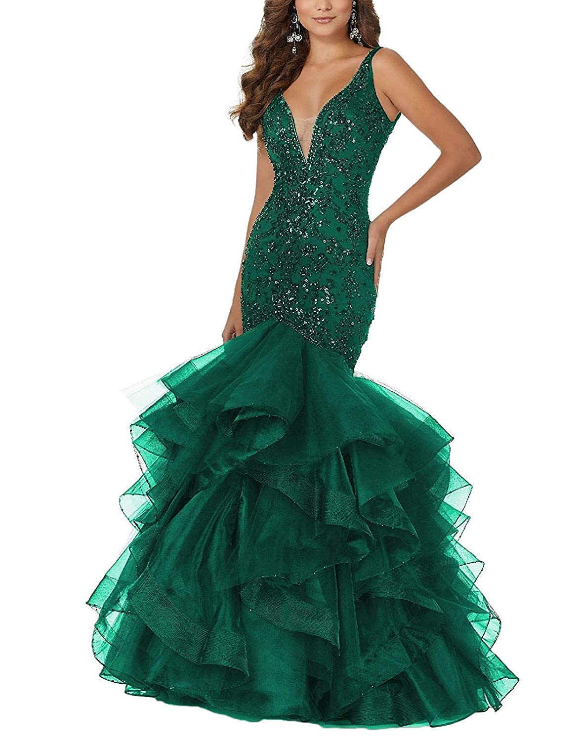Dark Green PearlBridal Women's Beaded Sequins Mermaid Lace Long Prom Dresses Ruffles Evening Ball Gowns