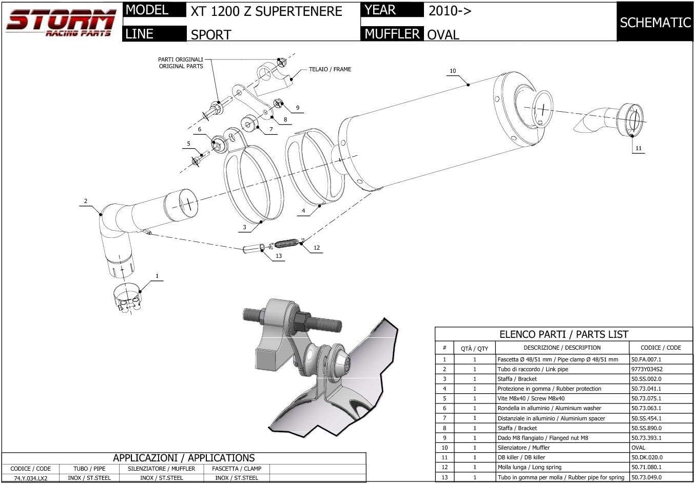 74 Y 034 Lx2b Auspuff Storm By Mivv Oval Nero Stahl Xt 1200 Z Supertenere 2013 13 Auto