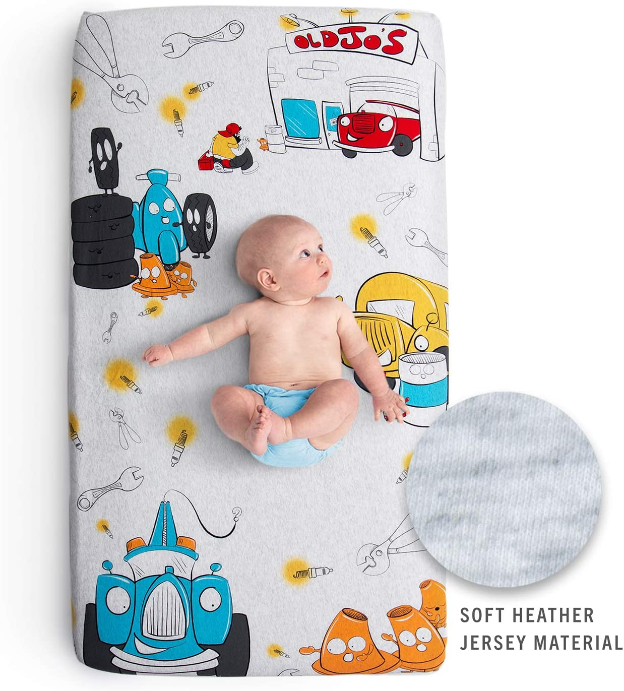JumpOff Jo - Stretchy Fitted Crib Sheet, 100% Jersey Cotton, Super Soft, Colorful Cars, Trucks and Auto Design, Jo's Garage
