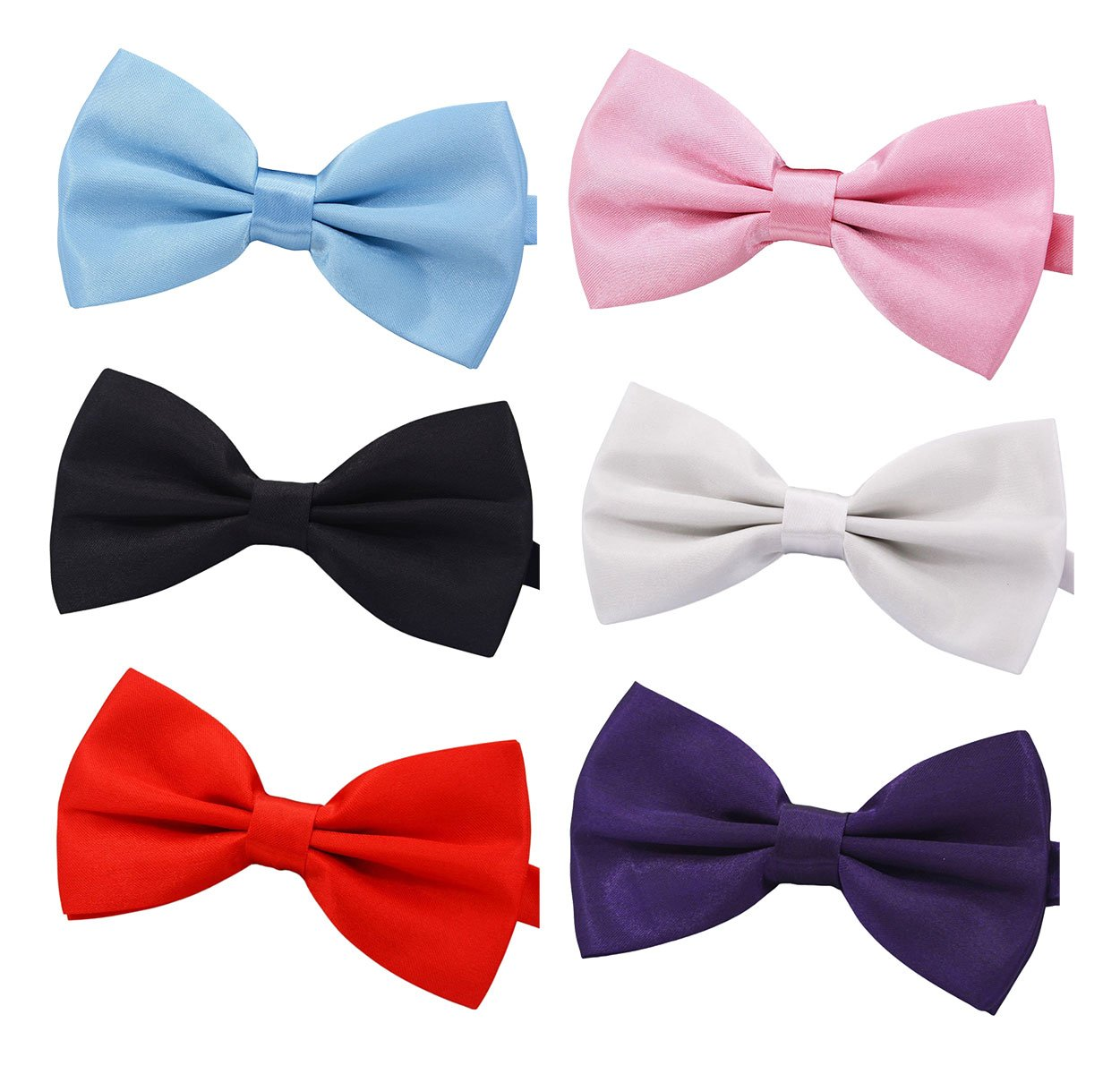 Amajiji Formal Dog Bow Ties for Medium & Large Dogs (D114 100% polyester) (Mixed Colors, 6pcs)