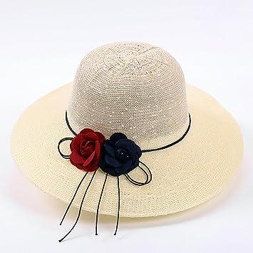 HSRG Hats Sombrero De Paja Mujer Grande Aleros Decoración De Flores Visera  De Playa Sombrero Protector e4cf887926e
