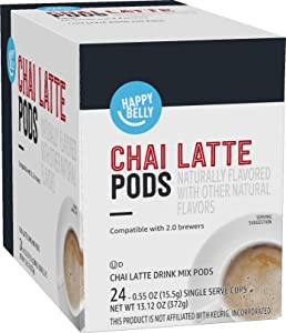 Amazon Brand - Happy Belly Tea Pods Compatible with 2.0 K-Cup Brewers, Chai Latte, 24 Count (Previously Solimo)