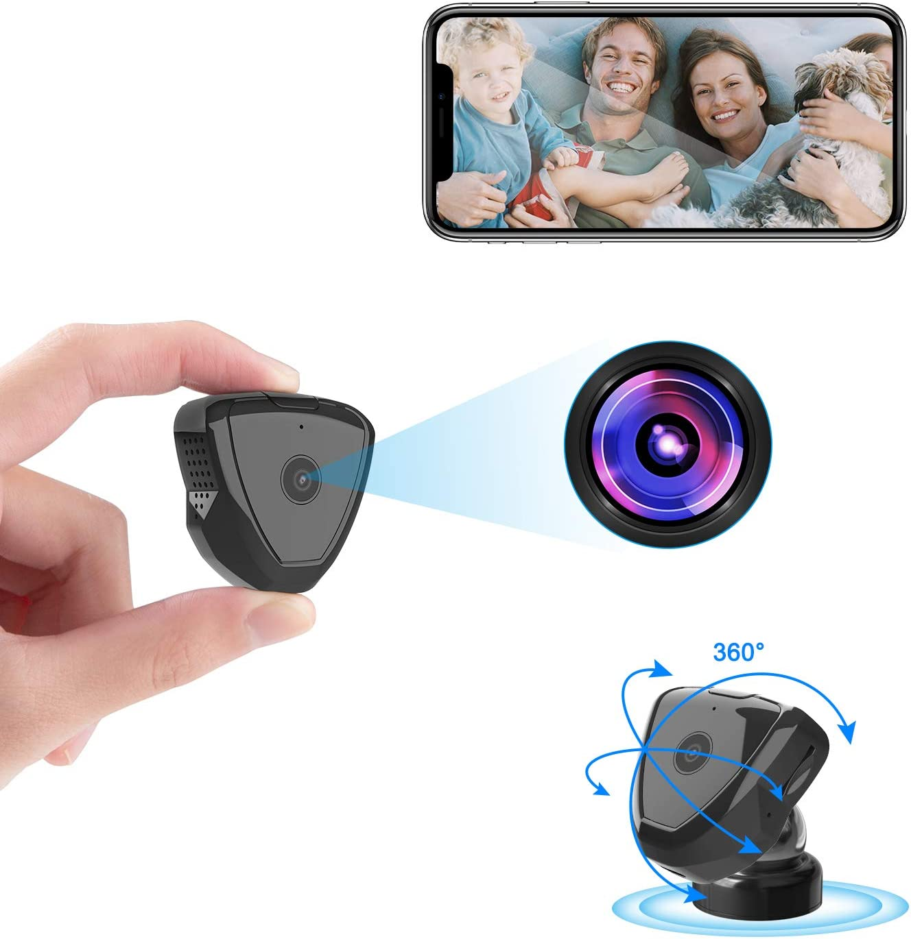 Mini Spy Camera WiFi, Colohas HD 1080P Wearable Mini Spy Camera Hidden Camera Wireless with Live Stream Motion Detection Night Version, Nanny Cam Security Camera for Home Indoor Outdoor