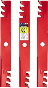 """MaxPower 561143XB Commercial Mulching Blade Set for 60"""" Cut Exmark, Windsor, Replaces OEM No. 103-6398, 103-6393, 51-2810 and Many Others, Red"""