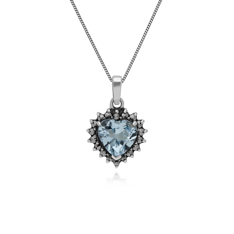 Gemondo Necklace, Sterling Silver Blue Topaz & Marcasite November Birthstone Heart Locket Necklace
