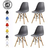 Set of 4 Modern Design Dining Chairs Eiffel Retro Lounge Chairs, LIA by MCC (Grey)