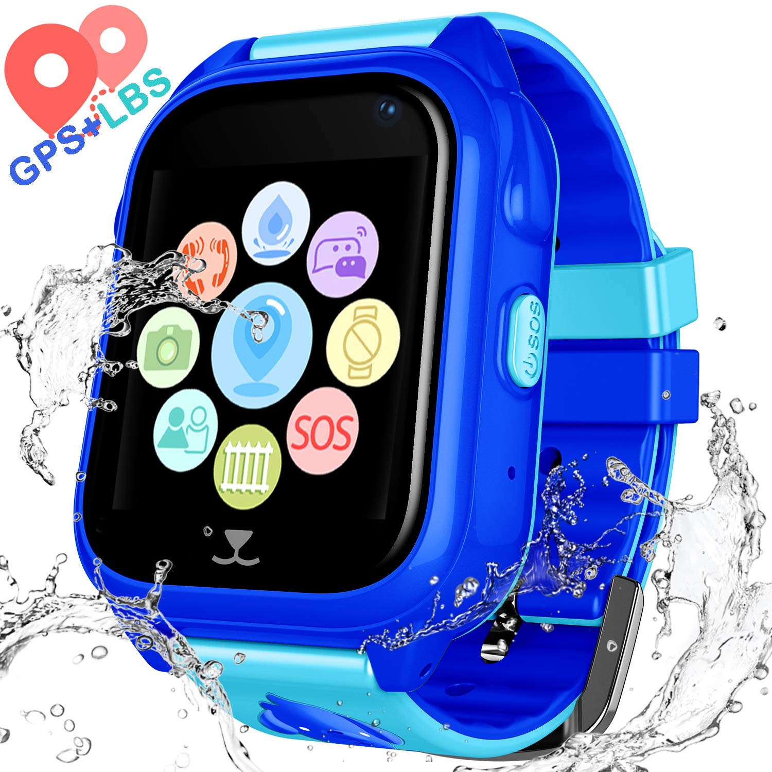 Kids Waterproof Smart Watch Phone – Children Water Resistant GPS Tracker Watch with Call Talkie Walkie Games Sports Wristband for Boys Girls
