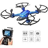 Potensic Drone Con Fotocamera HD,Drone RC FPV Con Funzione Stepless-speed,Funzione Di 3D Flips, Fotocamera HD 2MP , FPV LCD Monitore a Schermo Da 5.8 Ghz - Blu