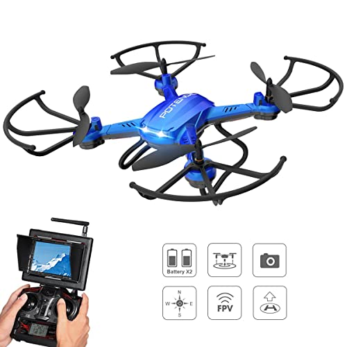 Drone with HD Camera, Potensic® F181DH RC 5.8Ghz FPV Quadcopter Drone RTF Altitude Hold UFO with Newest Hover and 3D Flips, Stepless-speed Function, 2MP HD Camera & LCD Screen Monitor - Blue
