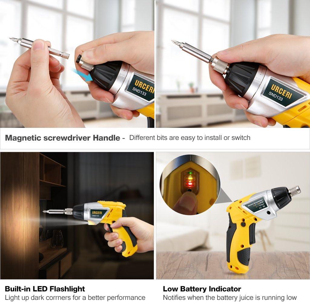 URCERI 3,6V Schnurloser mini Schrauber 3,6V 6Nm geeignet f/ür Schrauber Akkuschrauber Montage oder Reparaturen 1 St Verl/ängerungsstange 2,0Ah Li-Ion Akku 30 Bits USB-Ladekabel LED-Licht