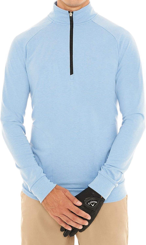 Mens Lightweight Dry Fit Pullover - Long Sleeve Half Zip Golf Jacket for Men: Clothing