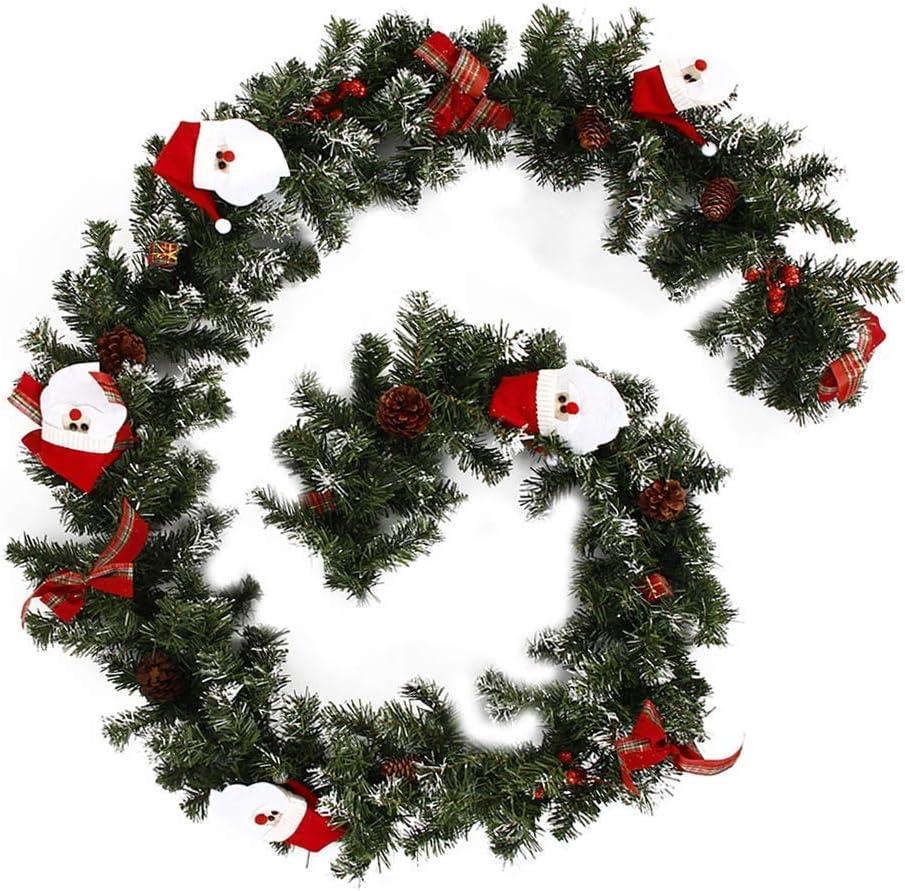 ZHANGYY Guirnalda de Navidad de 1,8 m, Guirnalda Artificial de Navidad Verde, Larga con Frutos Rojos, piñas, Arco, Nieve, Puerta Colgante, escaleras, Chimenea, decoración de árboles de Nav