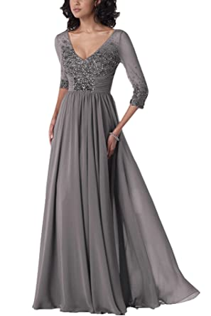 Secret Castle Womens V-neck A-line Long Prom Dresses with 3/4