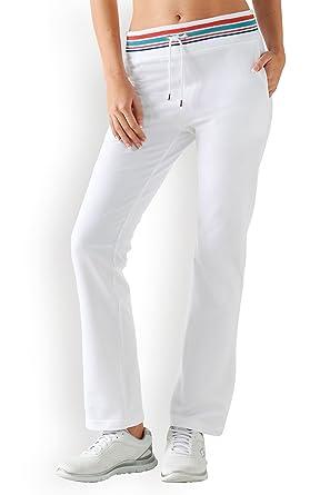 a6b74f3837a8f CLINIC DRESS Damen-Sweathose Weiß Kontraststreifen weiß/bunt XL ...