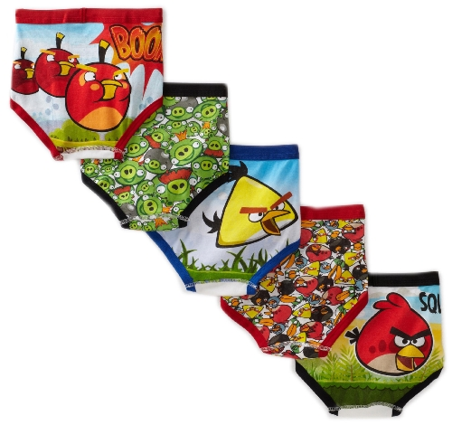 Fruit Of The Loom Boys 2-7 Angry Birds 5 Pack Brief