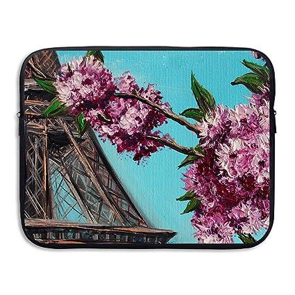 fb2da63ab86d Amazon.com: Fashion Laptop Sleeve Case Beautiful Flowers and Eiffel ...