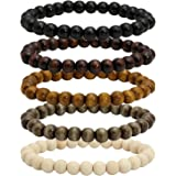 MILAKOO Wood Bead Bracelet Tibetan Buddhist Meditation Mala Prayer Beads Men Elastic Bracelet 6/8mm